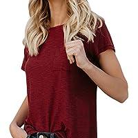 Chemisier Femmes, En vrac Couleur pure Poche Haut Décontractée Manche courte T - shirt Toamen (XL, Vin Rouge)