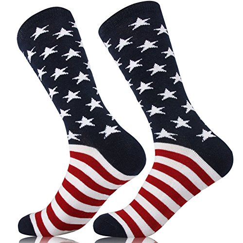 Unisex American Flag Socks Crazy Fun Design Patterned Cushion Cotton Fashion Novelty 2 or 4 Pairs star/2pairs