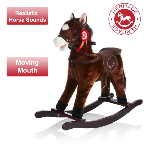 Heritage Deluxe 68cm Rocking Horse With Sounds & Moving Mouth Dark Brown
