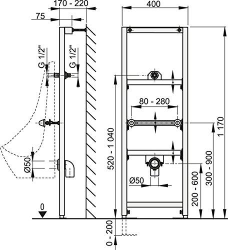 Vorwandmontage-Element für Urinal mit Drückspüler zur Eckmontage Höhe 1200mm