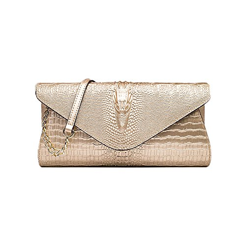 Sheli Womens Designer Unique Functonalities 8D Crocodile Head Leather Clutch Dress Party Daily Bag (Cabrio Bag Leder Hobo)