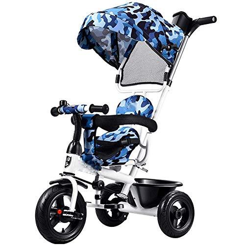 Kinder-Dreirad-Fahrrad Baby Push Baby-Kinderwagen Kids Fahrrad Markise Effektiv Blockieren Die Sonne,Blue (Kette Blockieren)