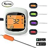 povkeever-Lebensmittel-Thermometer, kabellose Fernbedienung Digital-Thermometer Kochen Thermometer, mit 2Sonden für Küche, Grill, Grilling usw. (Akku nicht enthalten)