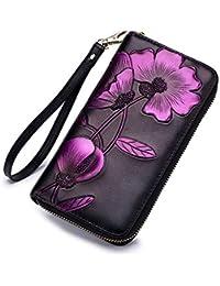 Damen Portemonnaie Geldbörse Geldbeutel Portmonee Blumen Handy Lederbörse Clutch