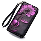 APHISONUK Damen Echtleder Geldbörse Reißverschluss RFID Schutz Geldbeutel für Frauen handgemachte Brieftasche Elegant Portemonnaie Damenbörse (Lila)