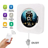 Portable CD Player, Hompie Upgraded Wall Mounted 5-IN-1 CD Music Player HiFi Bluetooth Speaker Home Audio Boombox with Remote Control USB Drive AUX in & 3.5mm Headphone Jack with Bonus Accessories