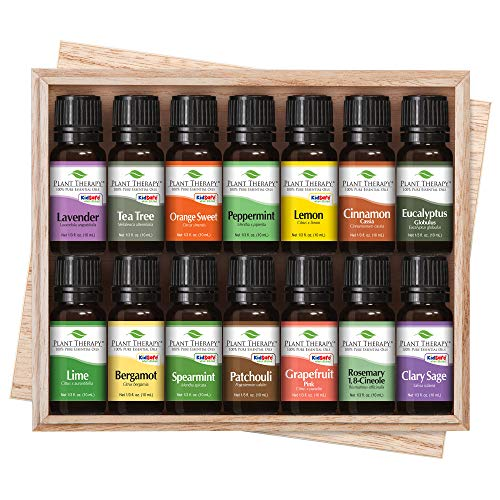 Aura Cacia Patchouli Sweet (Top 14 Essential Oil Set. Includes 100% Pure, Therapeutic Grade Oils of Bergamot, Clary Sage, Cinnamon, Eucalyptus, Grapefruit, Lavender, Lemon, Lime, Patchouli, Peppermint, Rosemary, Spearmint, Orange & Tea Tree. 10 ml each. by Plant Therapy Essential Oils)
