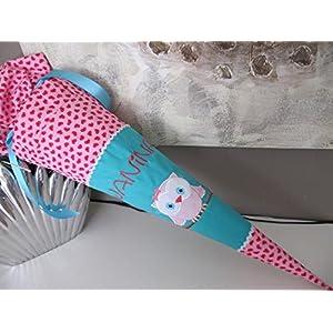 #150 Eule Uhu türkis-rosa Schultüte Stoff + Papprohling + als Kissen verwendbar