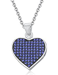 Silvernshine LADIES 10K WHITE GOLD FN TANZANITE SIM DIAMOND LOVE HEART SHAPE PENDANT NECKLACE
