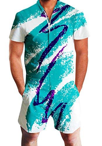 chicolife Herren Strampler Overall Herren Zip up 3D Cooles Cartoon Grafik Designer Onesie Jumpsuit Strampelanzüge Strampler Overall Anzug mit Kurze ärmel Overalls Kurze Hose Rompers S-XL