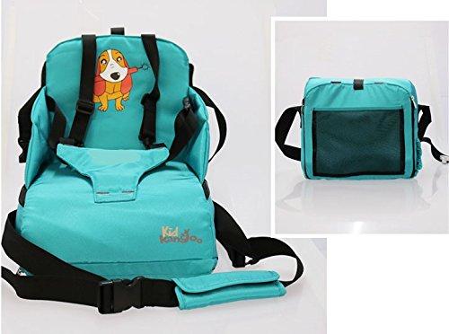 Trona portátil para bebés. Asiento plegable de viaje. Alzador infantil con bolsillos. Se acopla al respaldo de cualquier silla. Bolsa para transportarla (Incluida).