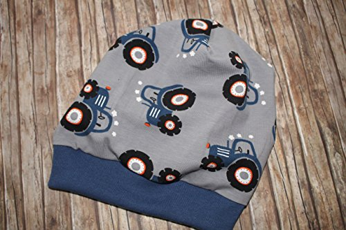 Kinder Mütze Beanie Traktor grau blau