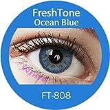 Farbige Kontaktlinsen Monatslinsen blau ozeanblau 'Ocean Blue' ohne Stärke mit Aufbewahrungsbehälter
