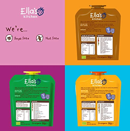 Ella's Kitchen Organic Meal Time Favourites Variety Pack, Weaning Stage 2, 7+ Months Baby Food, 130g Pouch (Pack of 18 Pouches)