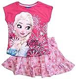 Frozen - Die Eiskönigin T-Shirt und Rock Kollektion 2018 Set 98 104 110 116 122 128 Mädchen Kurzarmshirt ELSA Disney (Fuchsia-Rosa, 98-104)