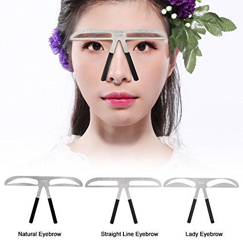 3 Stile Praktische Augenbrauen Schablone Make Up Augenbrauen Lineal Bremssättel Hilfemittel (Natürliche Augenbrauen)