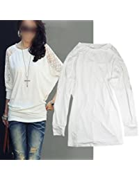 Neu Damen T-Shirts Shirts Tops Bluse Oberteil Fledermaus weiß L