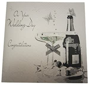 "White Cotton Cards BD32 - Biglietto di congratulazioni per matrimonio, scritta ""On Your Wedding Day"""
