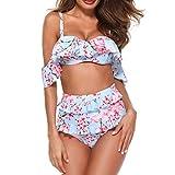 IZHH Bikini Badeanzug Badeanzug mit Blumenmuster Badeanzug Monokini gepolstert Bikini Print Badeanzug Sling Split Badeanzug(Blau,Large)