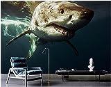 Wxlsl Benutzerdefinierte Wandbild 3D Tapete Marine Hintergrund Wand Des Großen Hai 3D Wandbilder Tapete Für Wohnzimmer-150Cmx105Cm