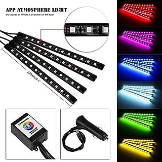 ZHITEYOU 4 * 12led RGB Auto Auto LED Chassis Lampe Unterboden Leuchten Auto Atmosphäre Licht mit Fernbedienung App Telefon WiFi Dekorative Bunte Licht