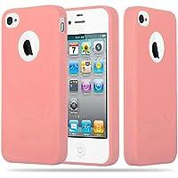 Cadorabo - Cubierta protectora Apple iPhone 4 / 4S de silicona TPU en diseño Candy - Case Cover Funda Carcasa Protección en CANDY-ROSA
