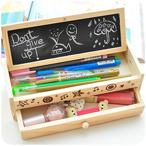 shager Süße FLOWER Multifunktionaler Bleistift Fall Bleistift Box aus Holz Schublade für Studenten Kinder (20,5* 8* 6cm) (Holz Box, Bleistift)