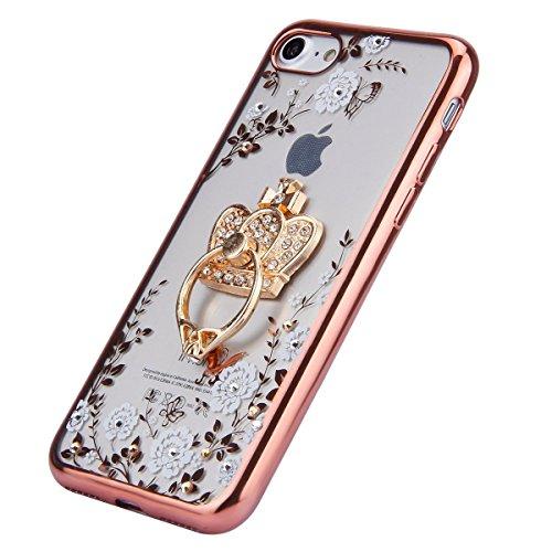 JAWSEU Coque pour iPhone 6 Plus/6S Plus 5.5,Apple iPhone 6S Etsui Housse en Silicone Glitter,iPhone 6 Housse Ultra Mince Transparent Flexible Souple Coque Cas Soft Gel Protective Case Luxe Élégant Fem Blanc/couronne/rose or
