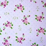 Polycotton-Stoff mit Polka Dots, mit Rosen, klein,
