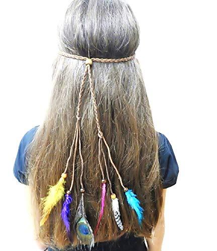 Marrone - Fascia Indiano - Intrecciata - Piume - Nativi Americani - Travestimento - Accessori - Halloween - Carnevale - Adulti - Bambini - Idea regalo per natale e compleanno