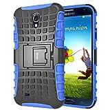iDoer silikon TPU Schutzhülle für Galaxy S4 Hülle Schutz Handy Stoßfest Drop Resistance Hüllen Etui Hybrid Handyhülle Das Bumper S4 Case für Samsung Galaxy S4 mit Ständer - Blau