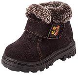DADAWEN Boy's Girl's Suede Leather Waterproof Winter Boots (Toddler/Little Kid/Big Kid) Coffee US