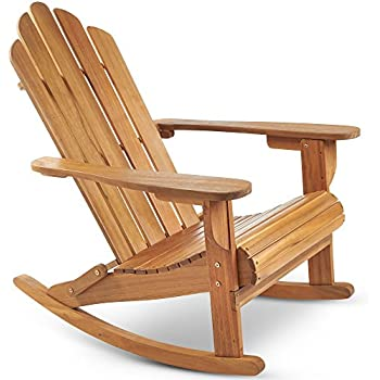 VonHaus Rocking Adirondack Chair   Outdoor Garden Furniture Made From  Acacia Hardwood With Oiled Finish