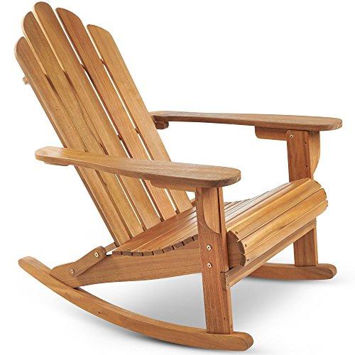 Schaukelstuhl Hartholz (VonHaus Adirondack-Schaukelstuhl – Outdoor Gartenmöbel aus Acacia Hartholz mit geölter Oberfläche)