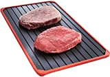 VonShef Defrost Tray with Red Silicone Border. Thaws Frozen Food In Minutes! No Electricity, No Chemicals, No Microwave