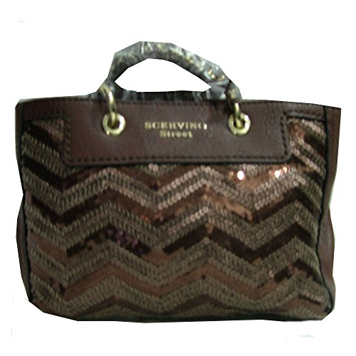 Borsa Scervino Street Nikita Paillettes Cod. SCBPL000097 Medium Bolding bag woman Marrone borsetta donna made in italy brown