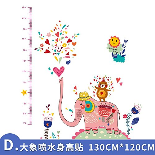 3D Wandaufkleber Wandtattoo Selbstklebend The Child Infant Baby Height Tape Removable Height Wall Stickers 3D Stereo Adult Cute Cartoon,D. Elephant Height Paste,Large