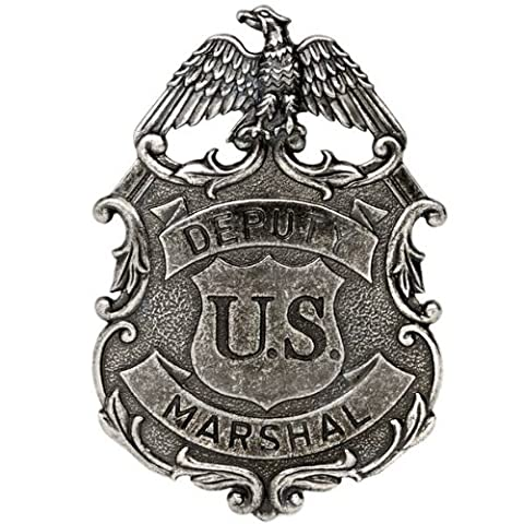 NICKEL COLOURED EAGLE US DEPUTY MARSHALL LAW ENFORCEMENT BADGE SOLID METAL G112/NQ by ukgiftstoreonline