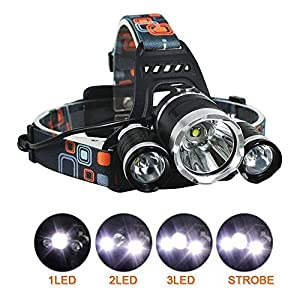 51Pw0kOpJVL. SS300  - BESTSUN Head Torch, LED Rechargeable Headlamp Headlight, 6000 Lumen Super Bright Head Lamp with 3 Lights 4 Modes, Hands-free Flashlight for Running, Camping, Fishing, Cycling, Hiking