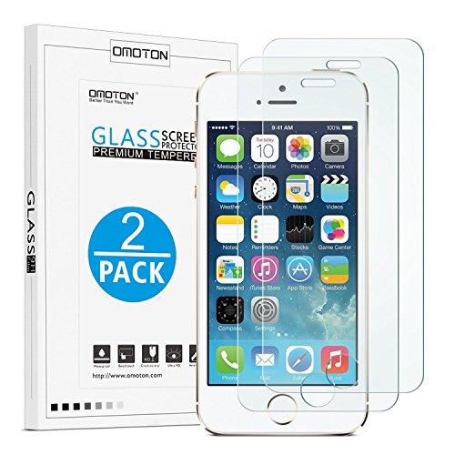 OMOTON [2 Stück] Panzerglas Displayschutzfolie für iPhone se/5s, 9H Härte, Anti-Kratzen, Anti-Öl, Anti-Bläschen