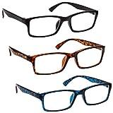 La Compañía Gafas De Lectura Negro / Marrón Carey / Azul Carey Lectores Valor Pack 3 Hombres Mujeres UVR3092BK_BR_BL Dioptria +3,50 - UV Reader - amazon.es