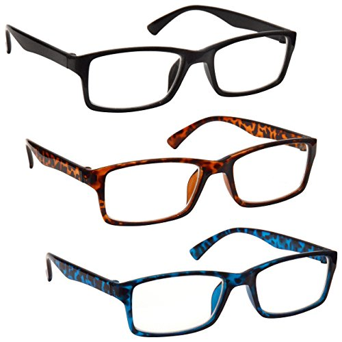 cde4d820ecf The Reading Glasses Company Black Brown Blue Readers Value Mens Womens  UVR3092BK BR BL Strength +2.50 by