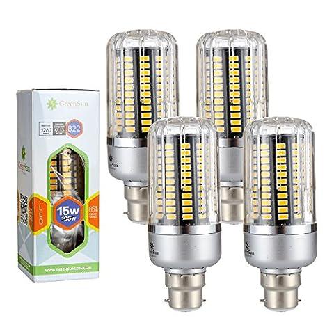 4×GreenSun 15W B22 Led économie d'énergie de maïs Ampoules SMD 5736 Équivalent Haute Puissance de la lampe Blanc Chaud AC 85-265V 100W Incandescent Lumière