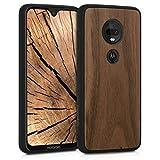 kwmobile Holz Schutzhülle für Motorola Moto G7 / Moto G7 Plus - Hardcase Hülle mit TPU Bumper Walnussholz in Dunkelbraun - Handy Case Cover