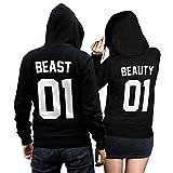 Beauty Beast Pullover Pärchen Set - 2 Hoodies für Paare - Couple-Pullover - Geschenk-Idee - schwarz (Beauty L + Beast 3XL)