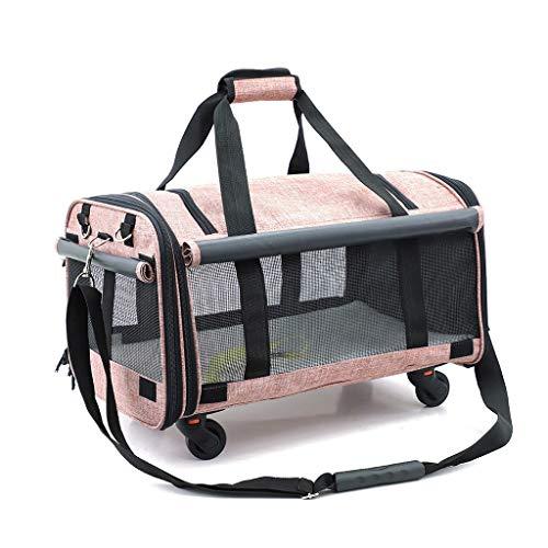 DOARG Pet Chats trolleybus et Chiens Sacs de Voyage Grande Capacité Roues Universelle Trois Portable Pliable côtés Respirant (Color : Pink)