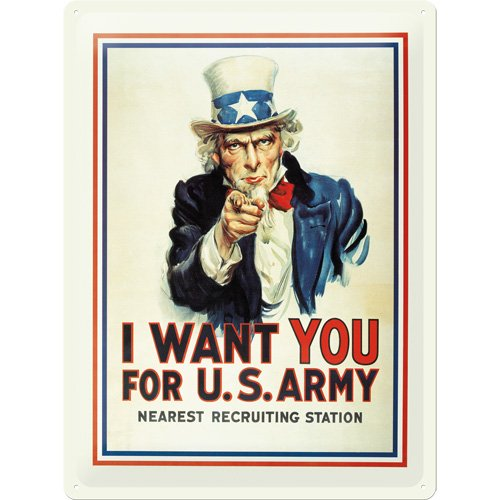 Nostalgic-Art 20317 USA I Want You, Blechschild, 30 x 40 cm