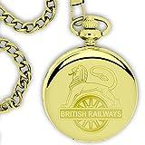 Orologio Da Taschino Con Leone Intarsiato Su Ruota Della British Railways - Dorato