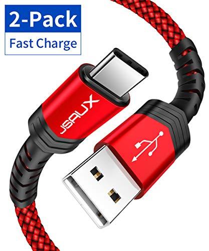 JSAUX Cavo USB C, [2 Pezzi: 1m + 2m] Cavo USB Intrecciato in Nylon Tipo C a Ricarica Rapida Compatibile per Samsung Galaxy S10 S9 S8 Note 9 8, Huawei P20 P10 mate20, Google Pixel, Nexus, LG - Rosso