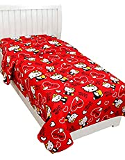 BSB HOME Glace Cotton 3D Printed Single Bedsheet Without Pillow Cover - Vi2842Colour-Red